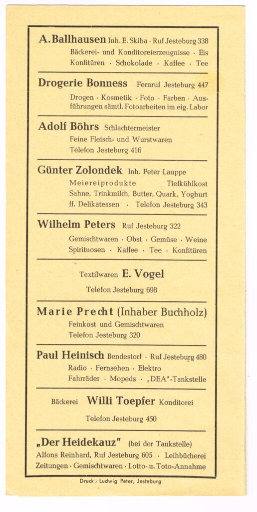 Werbe-Faltblatt von 1961
