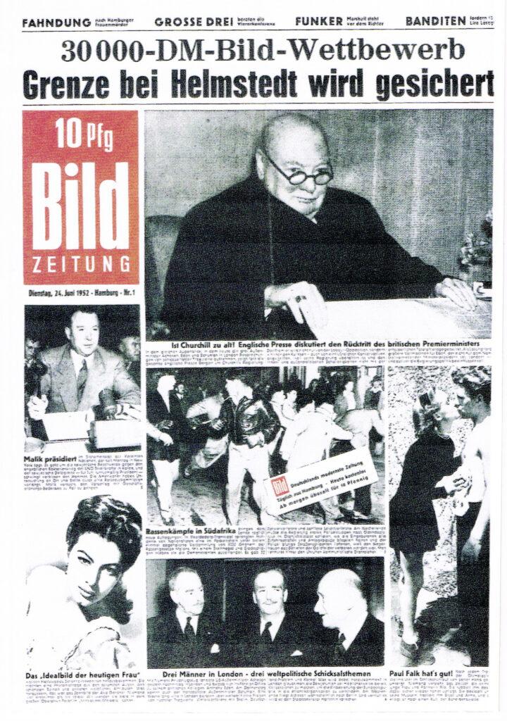 Bild-Zeitung, Reproduktion der Erstausgabe, 24.06.1952