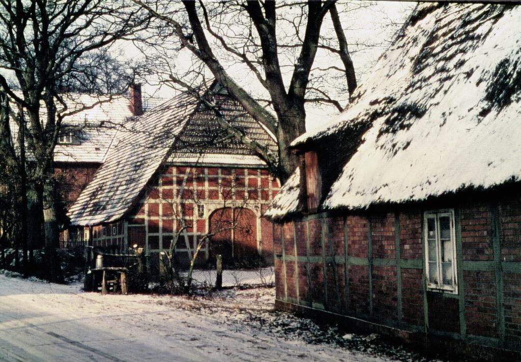1949, Ostseite, das alte Bauernhaus mit Anbau im Hintergrund