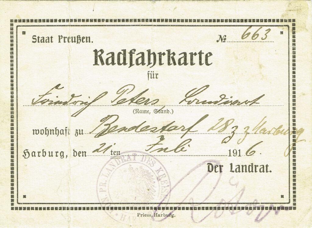 Radfahrgenehmigungskarte von 1916